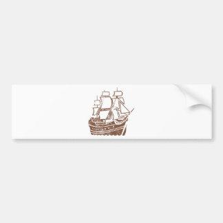 Grunge Vintage Ship Bumper Sticker