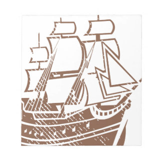 Grunge Vintage Ship Notepad