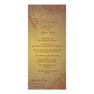 Grunge Vintage wedding programs rack cards