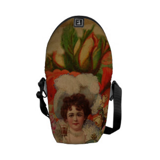 Grunge Vintage Woman Flower Collage Messenger Bag