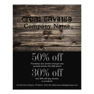 grunge vintage wood grain construction business flyer