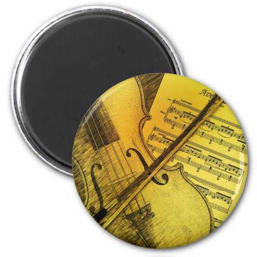 Grunge Violin and Sheet Music 2-inch Round Magnet