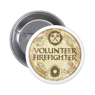 Grunge voluntario del bombero pin redondo de 2 pulgadas