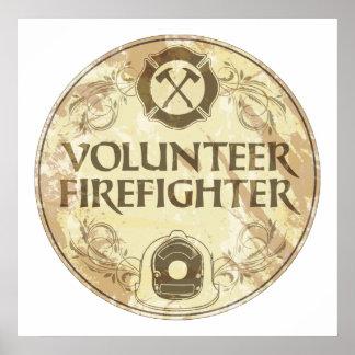 Grunge voluntario del bombero póster