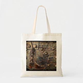 grunge Wagon Wheel western cowboy bridesmaid Tote Bag