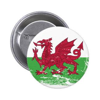 Grunge Wales Flag Button