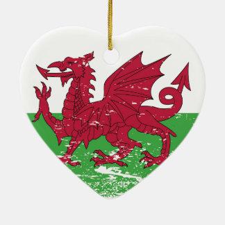 Grunge Wales Flag Ceramic Ornament