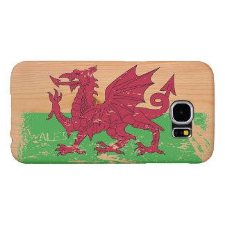 Grunge Wales Flag on Wood Samsung Galaxy S6 Case