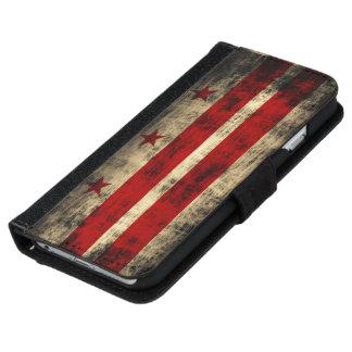 Grunge Washington D.C. Flag del vintage Funda Cartera Para iPhone 6