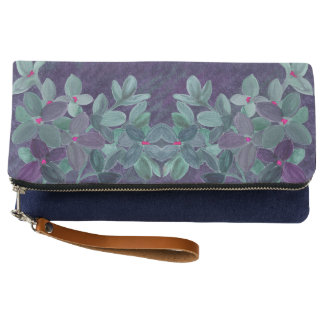 Grunge watercolor flowers with lace pattern clutch