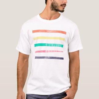 Grunge, Weathered, Colorful Stripes Pattern T-Shirt