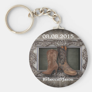 Grunge western country cowboy wedding favor keychain
