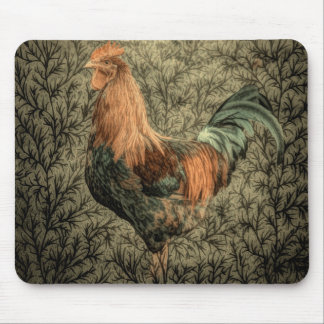 Grunge western country farm chicken rustic rooster mouse pad