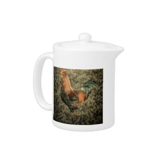 Grunge western country farm chicken rustic rooster teapot