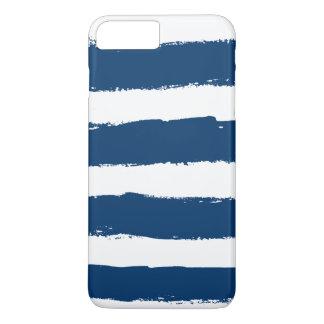 Grunge White Navy Blue Stripes iPhone 8 Plus/7 Plus Case