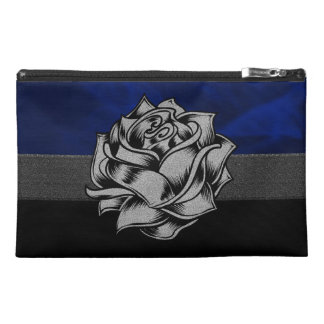Grunge White Rose on Blue Background Travel Accessories Bags