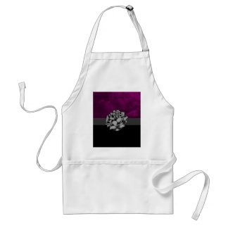 Grunge White Rose with Purple Smoky Background Adult Apron