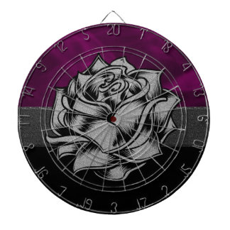 Grunge White Rose with Purple Smoky Background Dart Board