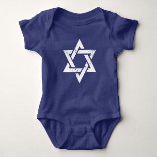 Grunge White Star of David Baby Bodysuit