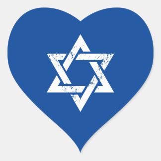 Grunge White Star of David Heart Sticker