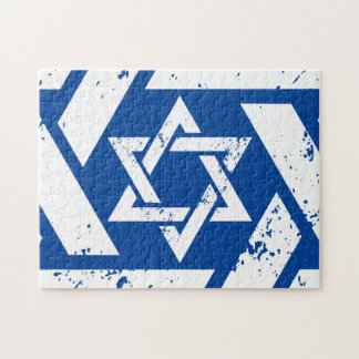 Grunge White Star of David Jigsaw Puzzle