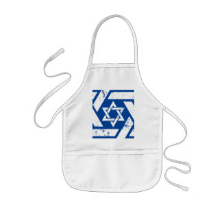Grunge White Star of David Kids' Apron