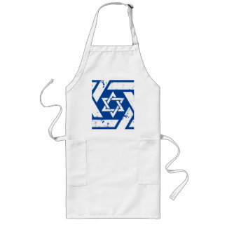 Grunge White Star of David Long Apron