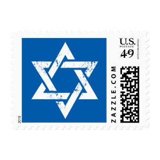 Grunge White Star of David Postage Stamp