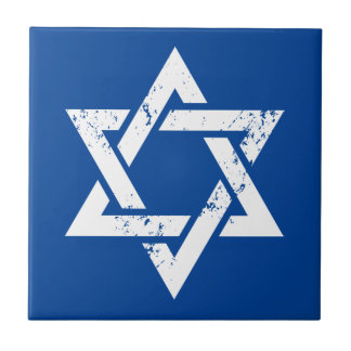 Grunge White Star of David Tile