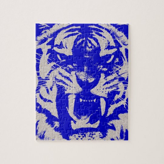 grunge wild animal abstract blue vintage Tiger Jigsaw Puzzle