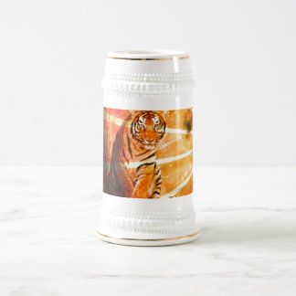 grunge wild animal vintage Japanese sun ray Tiger Beer Stein