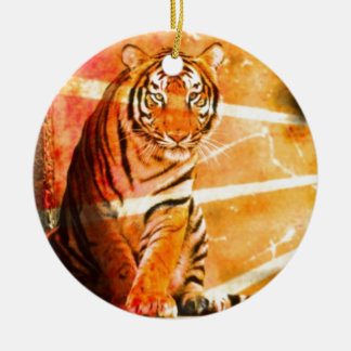 grunge wild animal vintage Japanese sun ray Tiger Ceramic Ornament