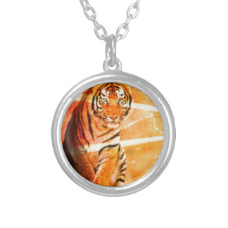 grunge wild animal vintage Japanese sun ray Tiger Silver Plated Necklace