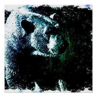 Grunge wilderness wildlife arctic polar bear poster