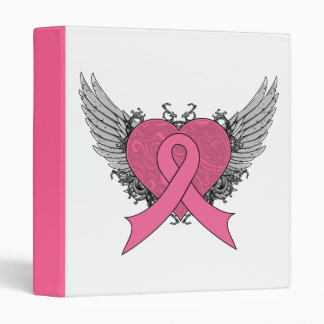 Grunge Winged Heart Ribbon  - Breast Cancer Binder