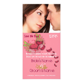 Grunge Winged Hearts Save the Date Your Photo Custom Photo Card