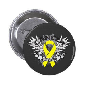 Grunge Winged Ribbon Bladder Cancer Survivor Pin