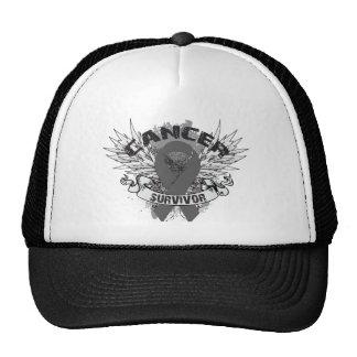 Grunge Winged Ribbon Brain Cancer Survivor Mesh Hats