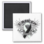 Grunge Winged Ribbon Carcinoid Cancer Survivor Fridge Magnet