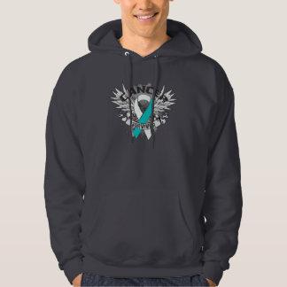 Grunge Winged Ribbon Cervical Cancer Survivor Hooded Sweatshirt