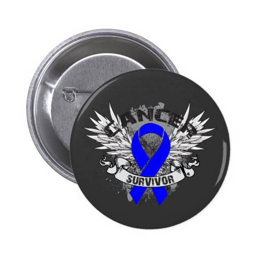Grunge Winged Ribbon Colon Cancer Survivor Pinback Button
