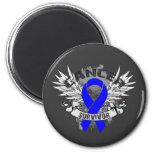 Grunge Winged Ribbon Colon Cancer Survivor 2 Inch Round Magnet