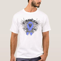 Grunge Winged Ribbon Esophageal Cancer Survivor T-Shirt