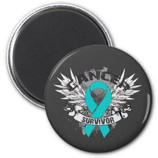 Grunge Winged Ribbon Gynecologic Cancer Survivor 2 Inch Round Magnet
