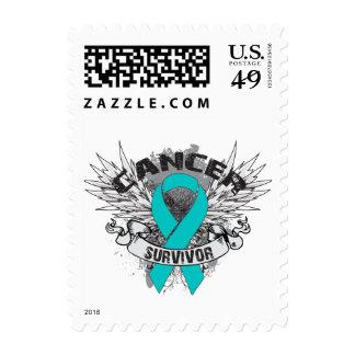 Grunge Winged Ribbon Gynecologic Cancer Survivor Postage Stamp