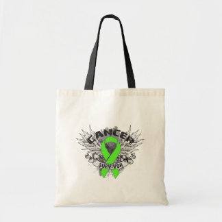 Grunge Winged Ribbon Lymphoma Survivor Tote Bag