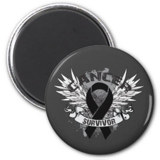 Grunge Winged Ribbon Melanoma Survivor 2 Inch Round Magnet