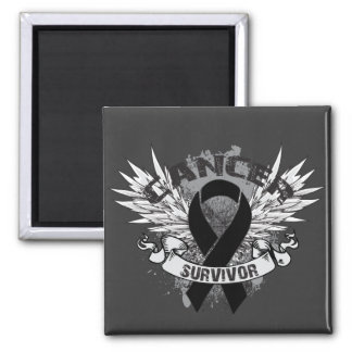 Grunge Winged Ribbon Melanoma Survivor 2 Inch Square Magnet