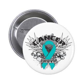 Grunge Winged Ribbon Ovarian Cancer Survivor Pins