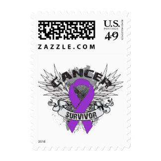 Grunge Winged Ribbon Pancreatic Cancer Survivor Stamp